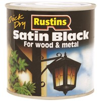 Rustins  Quick Dry Black Paint Satin - 1 litre
