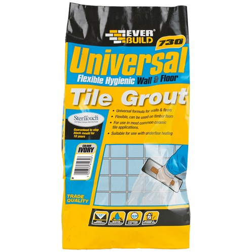 Everbuild  730 Universal Flexible Tile Grout Ivory - 5kg