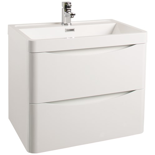 Bali 60cm Wall Hung Vanity Unit & Basin Gloss White