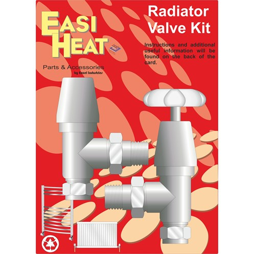 Easi Heat  Chrome Rose Head Radiator Valves Kit - 1/2in