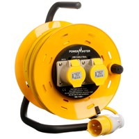 Powermaster  25m Open Cable Reel Cassette - 16 Amp 2 Gang