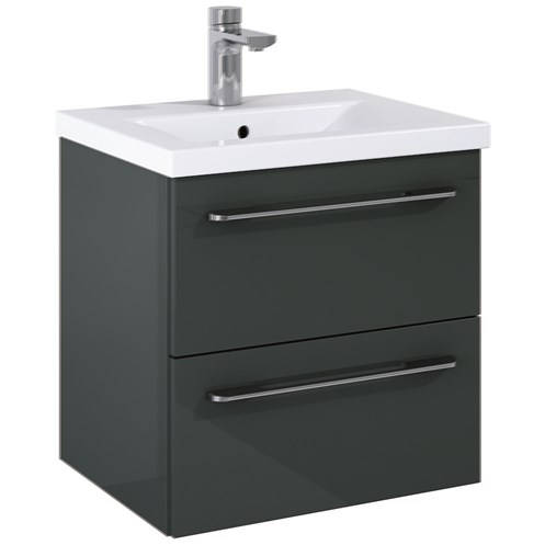 Otto Plus Gloss Grey 50cm Wall Hung Unit & Basin