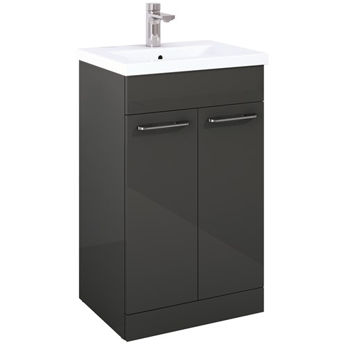 Porto Gloss Grey 50cm 2 Door Floor Unit & Basin