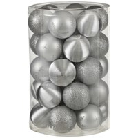 Silver Shatterproof Baubles  - 34 Pack